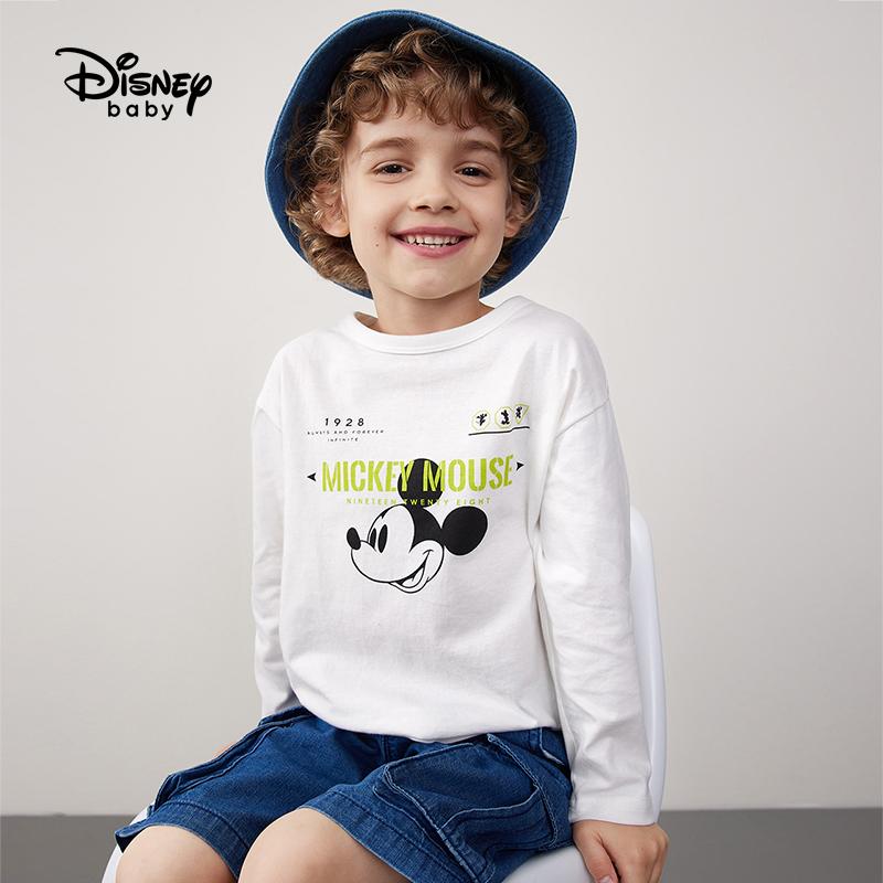 迪士尼童装男童长袖T恤2021春秋季新款洋气打底衫儿童卡通上衣潮