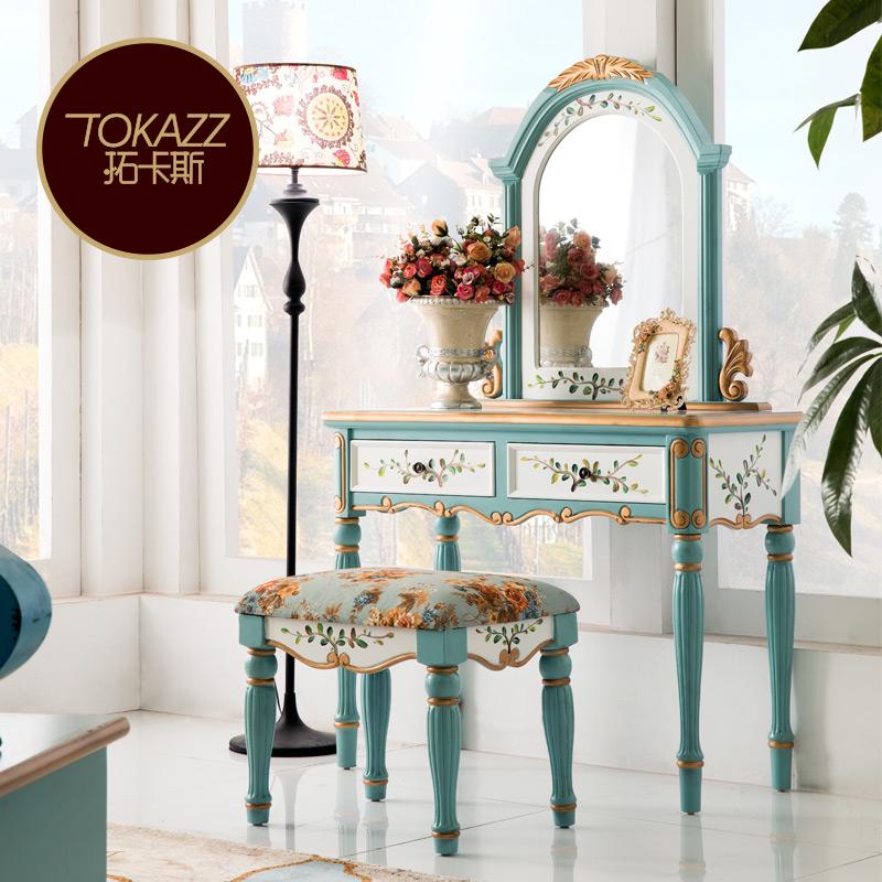 美式鄉村臥室梳妝臺實木妝臺鏡面組合歐式化妝臺復古彩繪梳妝桌柜
