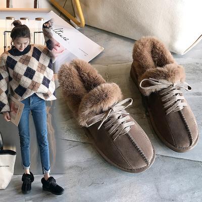 豆豆鞋女冬加绒平底棉鞋保暖瓢鞋毛毛鞋