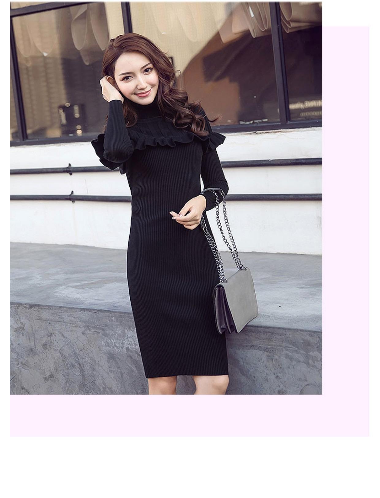 高仿圣罗兰ysl2018新款修身打底针织连衣裙高领QHU432 第26张