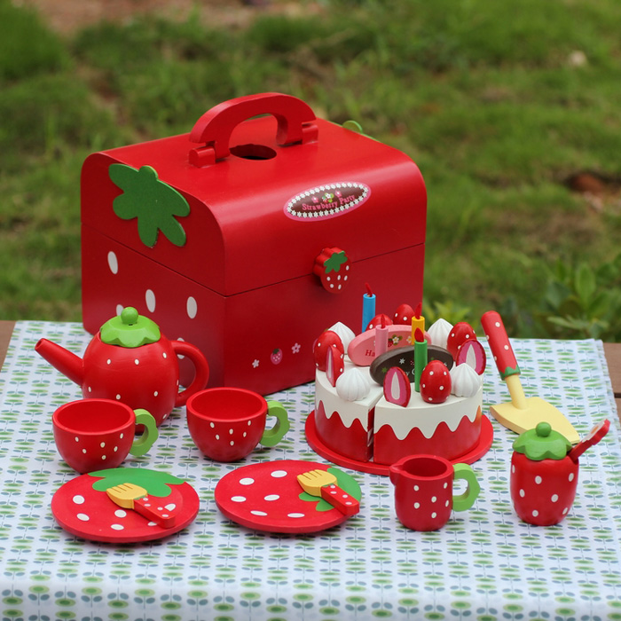 Usd 10 12 Wooden Strawberry Cake Cut To Look Music Play House Girl