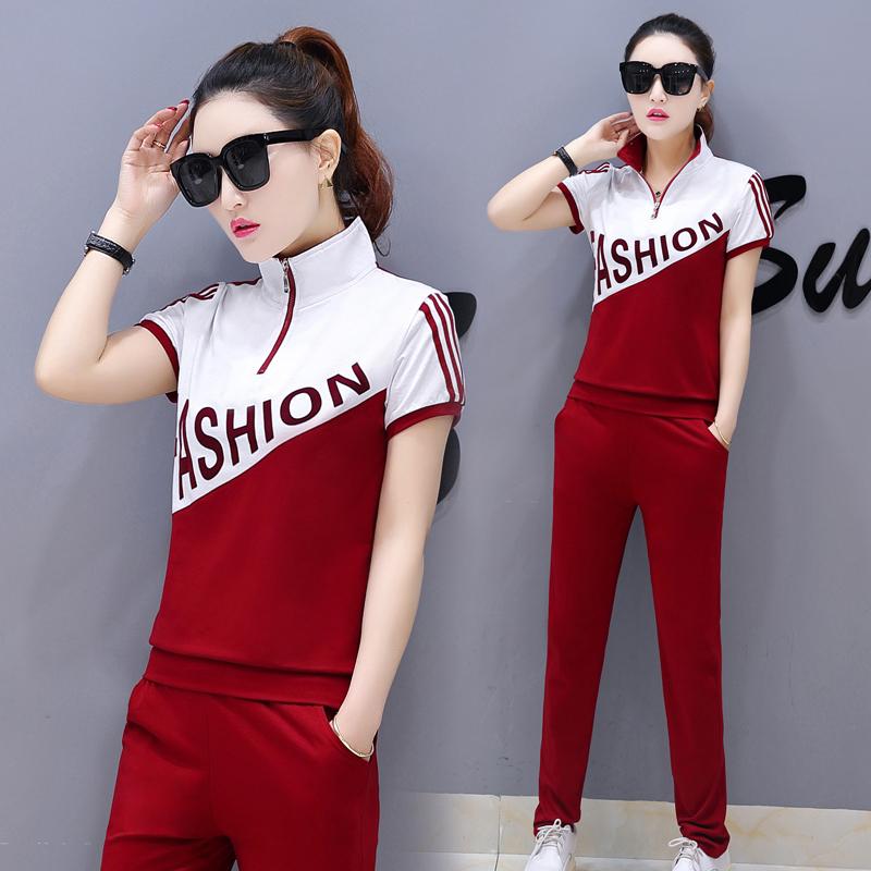 夏季新款2018运动服女装显瘦休闲套装短袖长裤夏装两件套夏天薄款