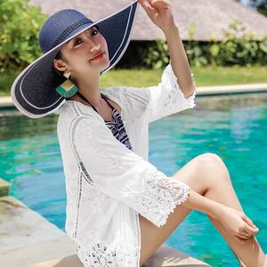 防曬衫女長袖2019新款波西米亞沙灘外搭泳裝罩衫白色短款蕾絲開衫