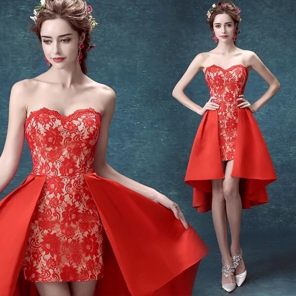 短款红色新娘礼服敬酒服,婚