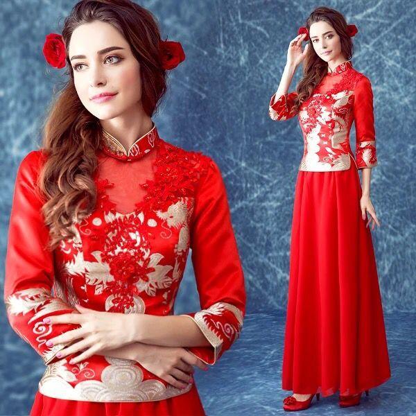 红色旗袍新娘旗袍