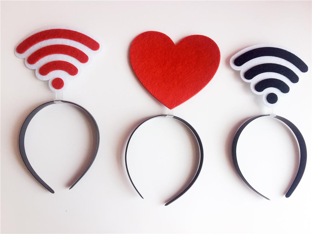 黑人问号发箍可定制爱心WiFi广告年会活动卖萌头箍发夹手动表情包