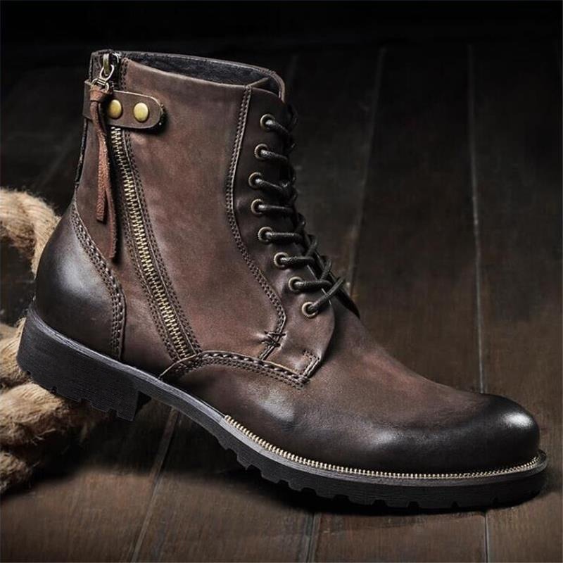 English trend leather side zipper high