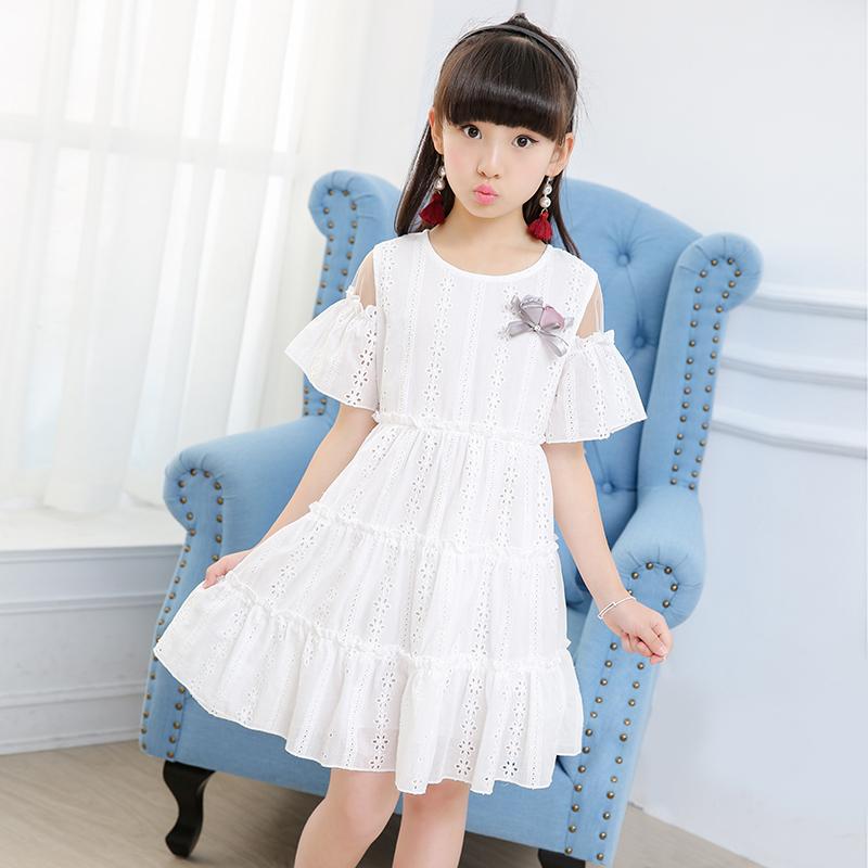 6285c45b79ae Girls cotton dress summer dress 2019 new foreign style strapless large  children princess skirt little girl Summer