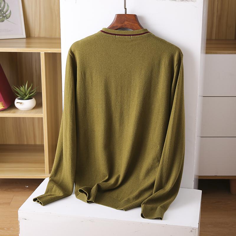 Thin sweater autumn chicken heart collar sweater new 2020 burst men's cut inside the men's bottom shirt V-neck top 43 Online shopping Bangladesh