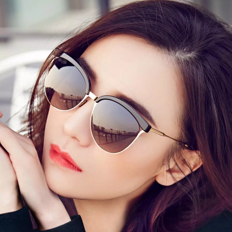 Cherry Pink Sunglasses 2018 personality song Jia high round Liu Wen star ladies  sunglasses tide myopia e32fa0538a38