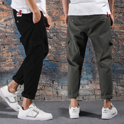 Retro washing men's casual pants Japanese tide brand Harun nine pants young men's self-cultivation overalls double-sided bag