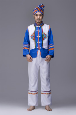 2018 Ethnic Costumes Adult Miao Dance Costumes Zhuang Nationality Tujia Dong Performance Costume Menswear