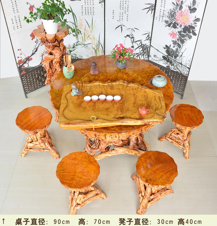 Vàng đỗ quyên tròn bàn gốc ghép rễ trà bàn gỗ rắn bàn trà bàn cà phê xương nhỏ bàn trà - Các món ăn khao khát gốc