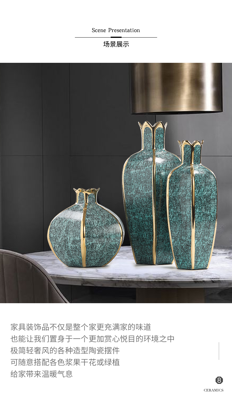 Light the key-2 luxury of I and contracted sitting room creative flower arranging furnishing articles home decoration ceramic vase floral arrangements