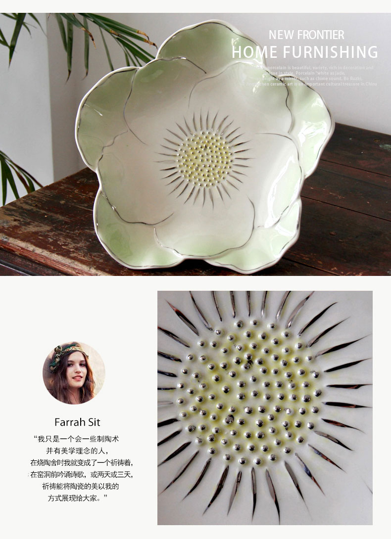 The Best fruit bowl, jingdezhen ceramic silver plated big lotus leaves home sitting room adornment snack plate decoration furnishing articles