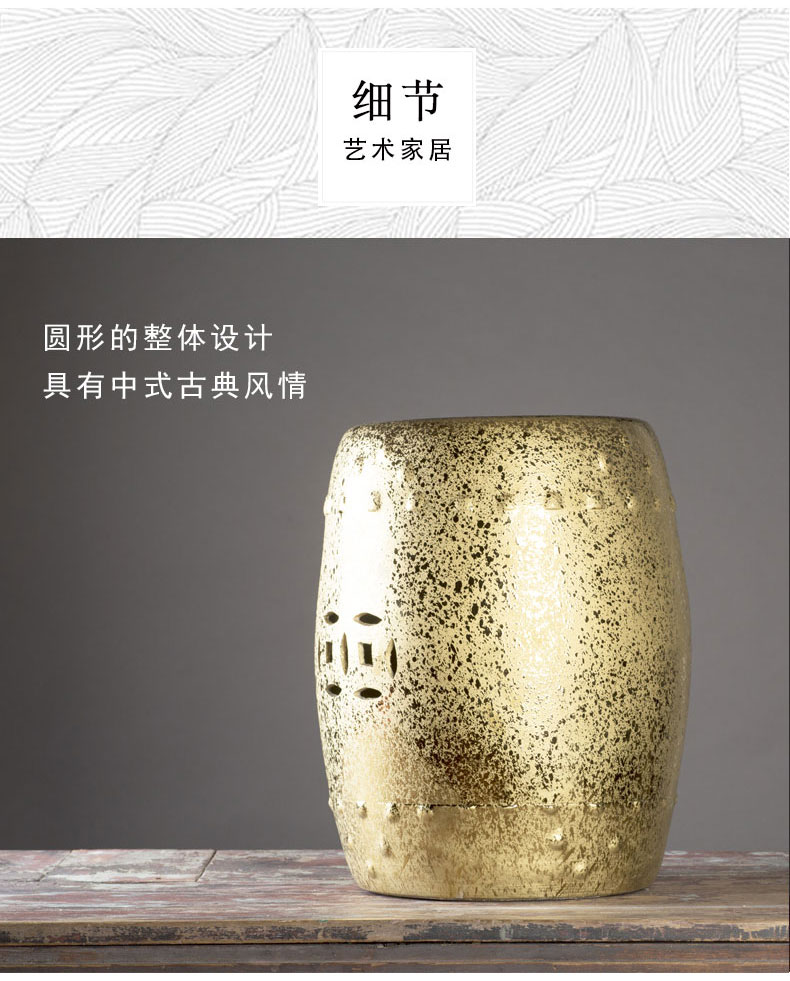 Jingdezhen ceramic who high thick continental gold - plated manual six side sitting room who drum drum who toilet block furnishing articles