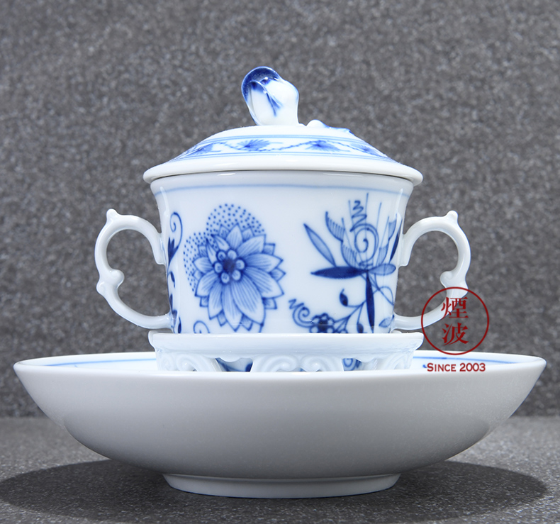 German mason MEISSEN porcelain cutting new blue onion chocolate cup dish group of afternoon tea