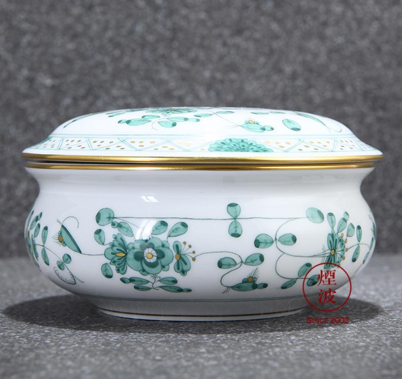 German mason mason meisen new clipping green flower porcelain candy box POTS store content box