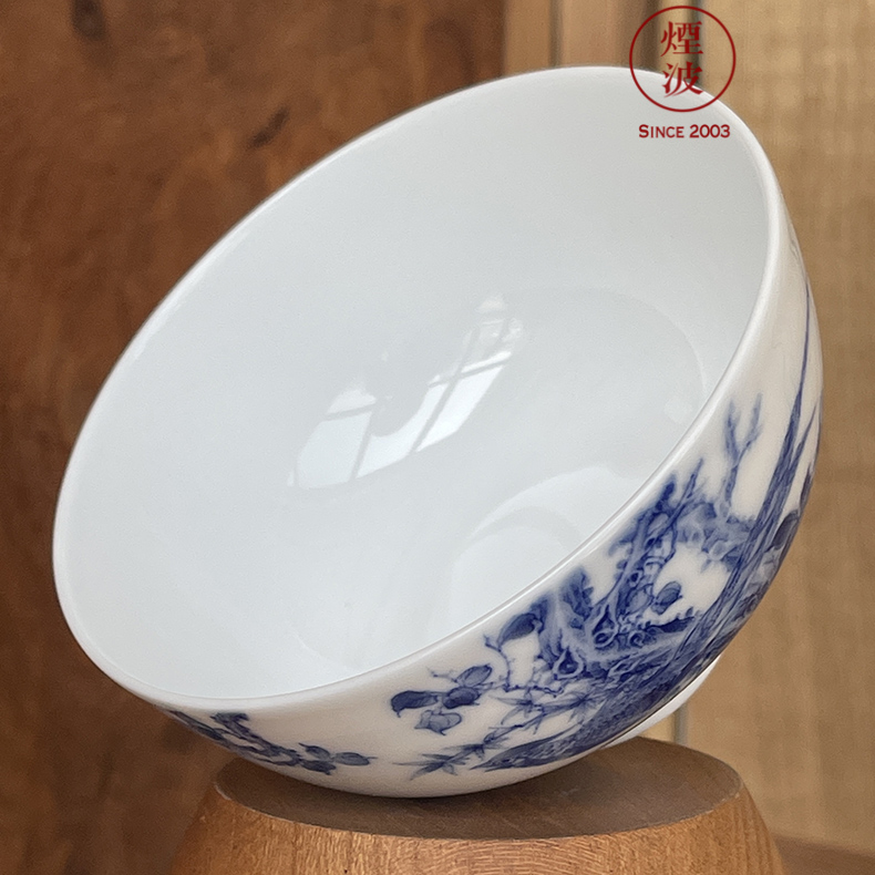 The smoke jingdezhen blue and white nine calcinations hand model of blue and white rock lotus flower heart cup sample tea cup