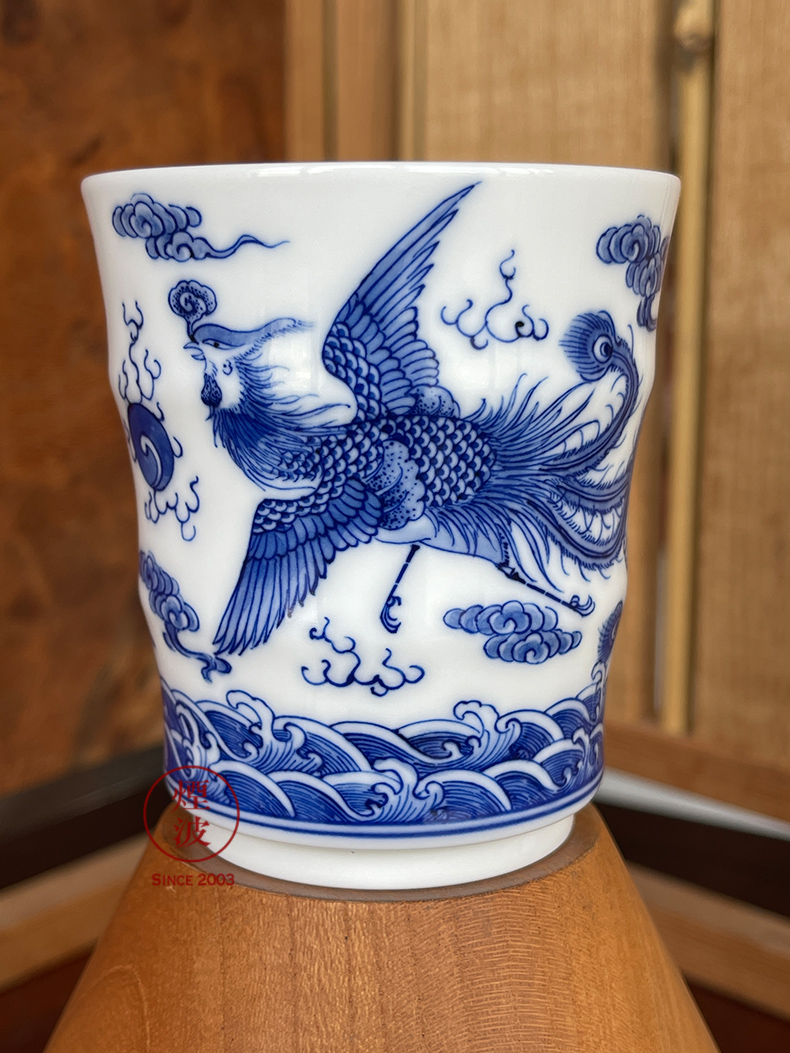 Those jingdezhen blue and white nine calcinations hand longfeng hand made blue and white porcelain cup cup bamboo cup