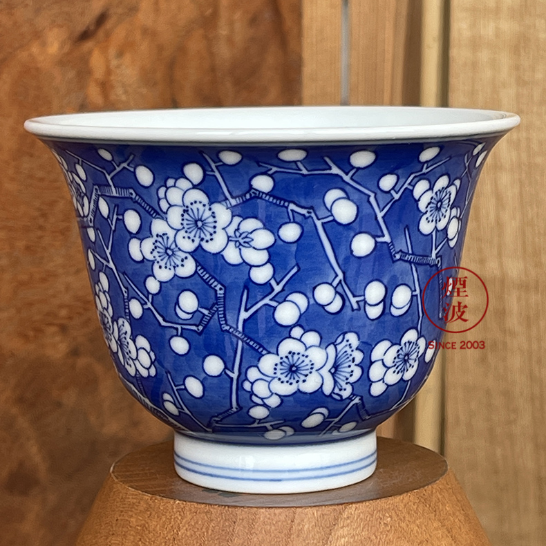 Jingdezhen blue and white blue spring breeze auspicious jade Zou Jun up of eight new system of land ice to crack the name plum flower painting of tea cups