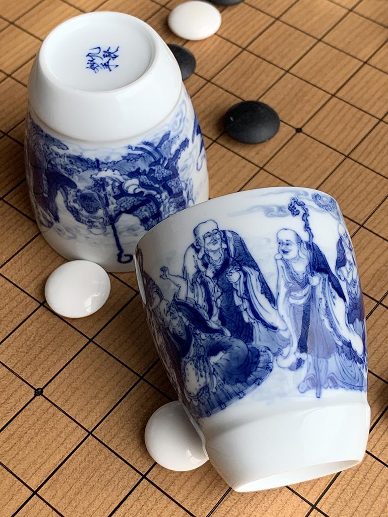 Jingdezhen nine wonderful hand burn hand - made porcelain nine paragraphs 18 arhats mould cup of a cup of tea cups