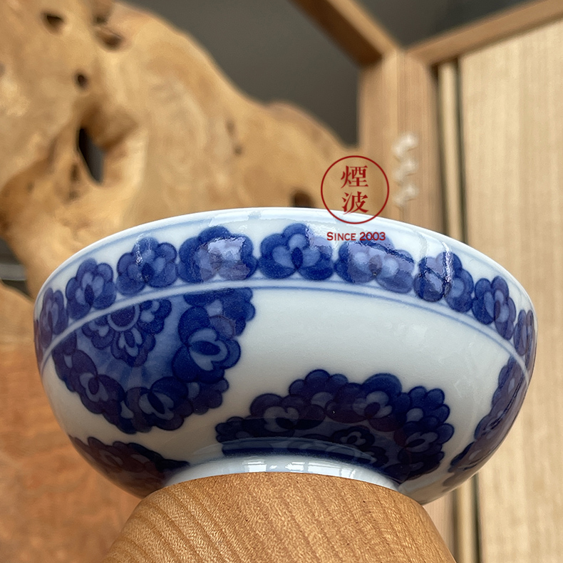 Jingdezhen spring auspicious six designs of blue and white treasure jade flower painting of flat bowl sample tea cup