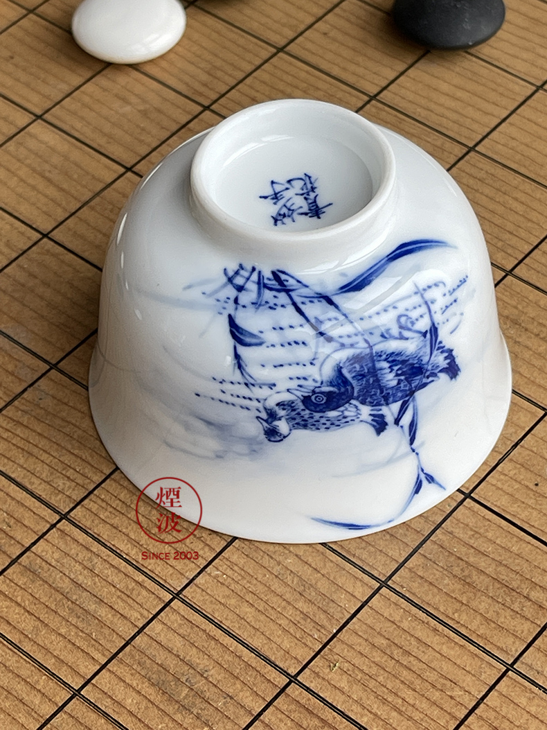 Infiltrator (#) blue and white porcelain of jingdezhen nine calcinations hand - made of blue and white porcelain LuYan pressure hand a cup of tea cups