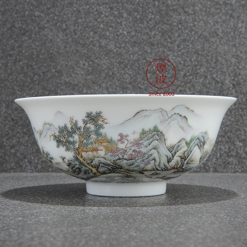 Those nine calcinations hand - made famille rose porcelain jingdezhen admirable landscape painters doing mercifully bowl bowl
