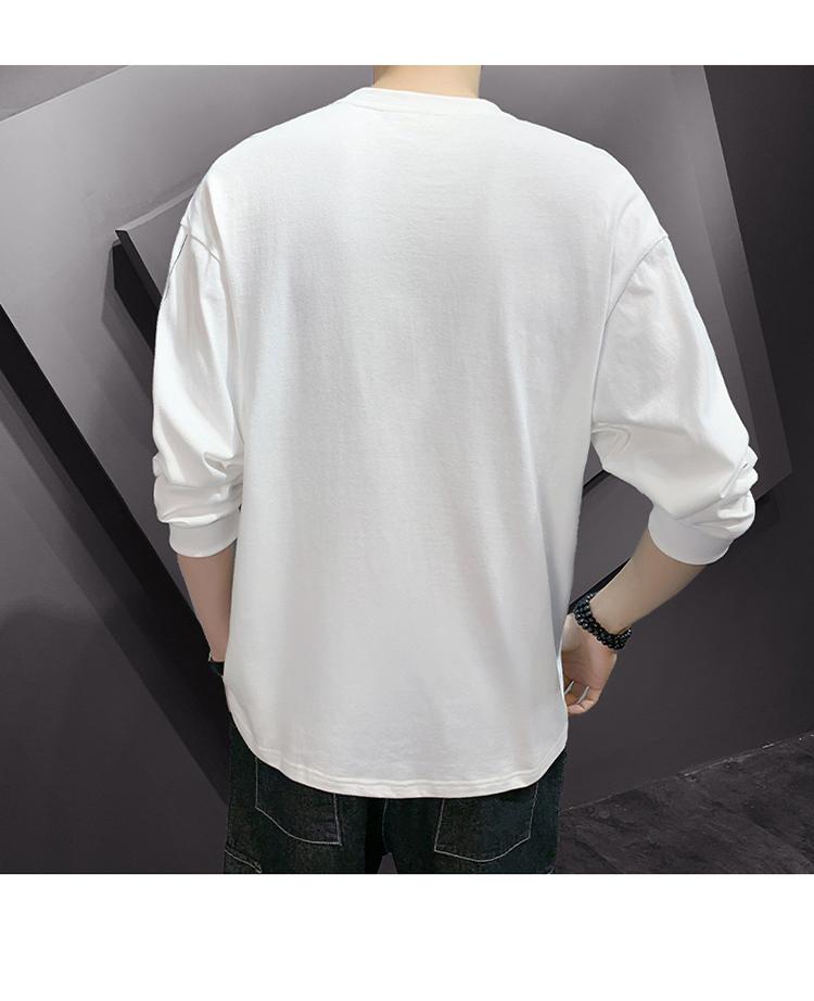 已质检 2020春季男士长袖t恤潮流纯棉打底衫上衣服DS675TP25