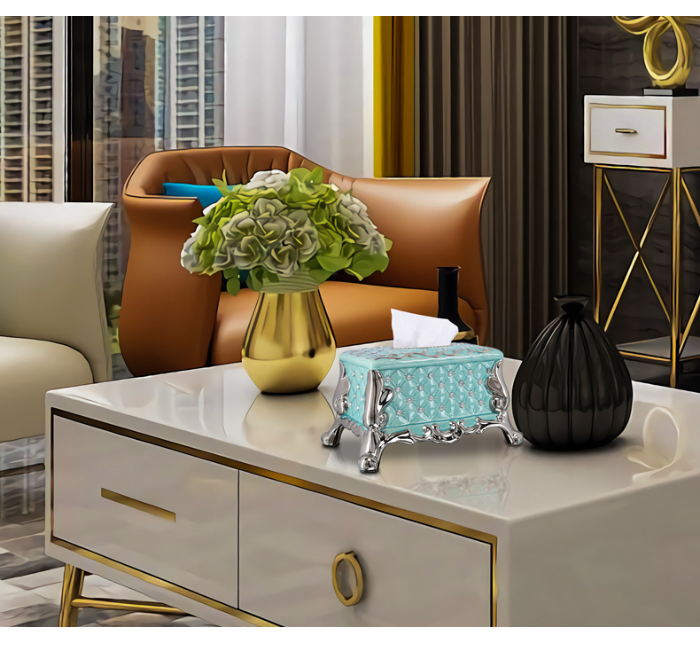 Light European - style key-2 luxury tissue box creative American household Nordic smoke box ceramic I and contracted sitting room tea table furnishing articles