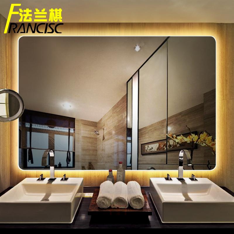USD 122.00] Flange chess bathroom frameless LED light mirror wall ...