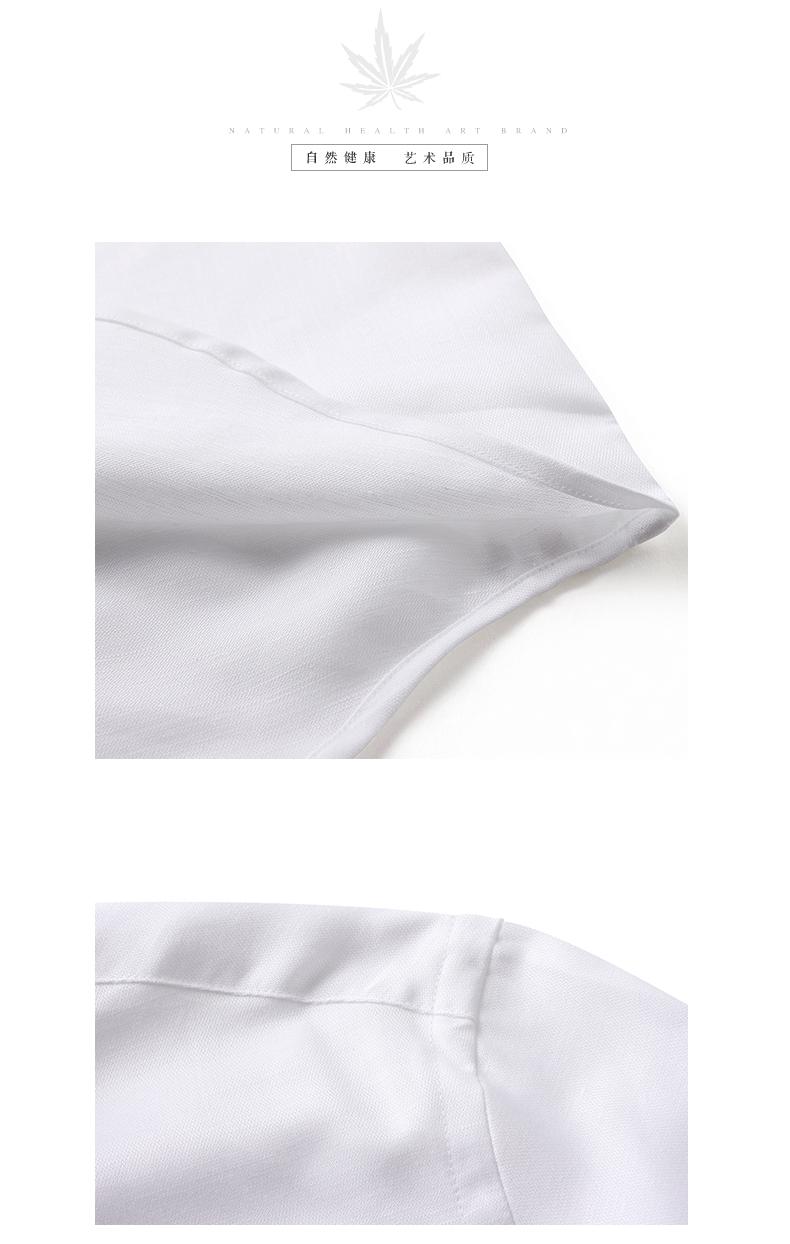 Hanp Hanma gia đình màu rắn nam cotton và linen dài tay áo sơ mi nam casual shirt linen thanh niên lỏng trắng áo sơ mi nam tay dài