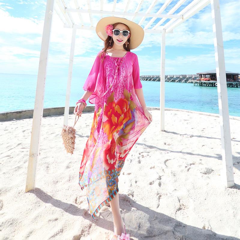 夏天雪纺开叉印花连衣裙大码沙滩裙胖mm显瘦海边度假波西米亚长裙