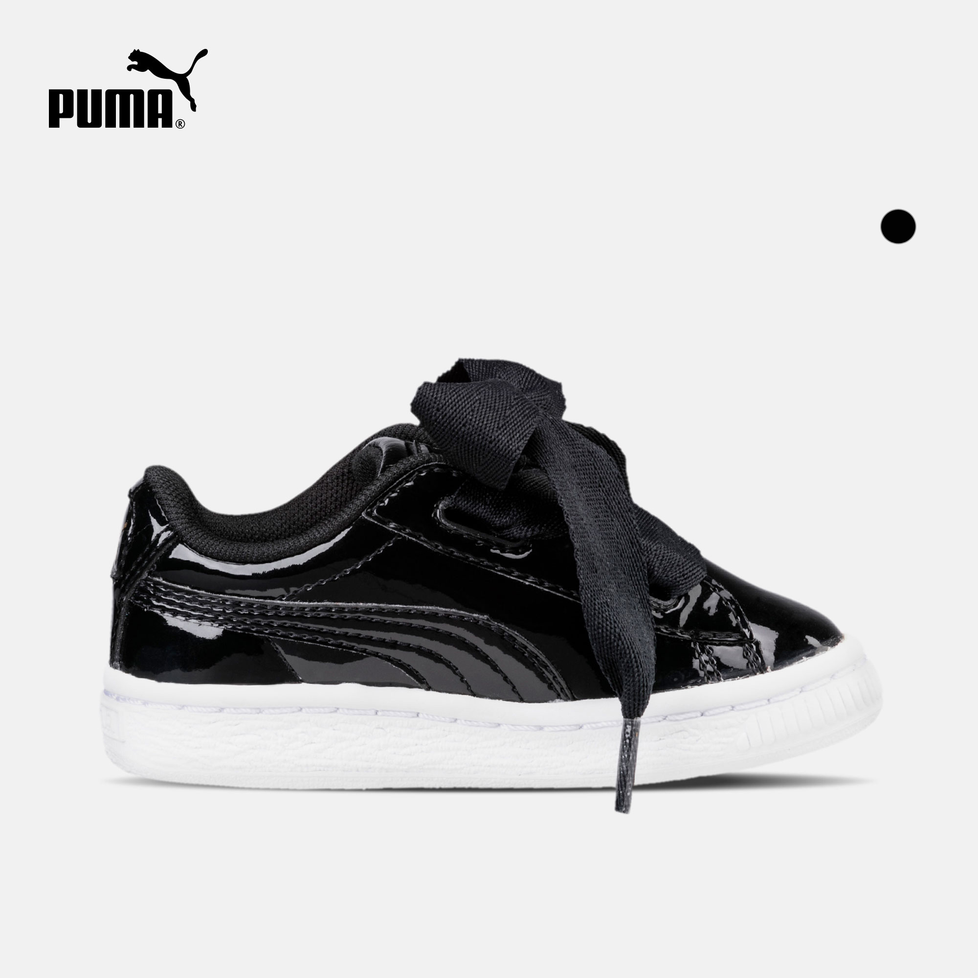 low priced 614ff d4c6c Puma Puma official young children bowknot patent leather casual shoes  Basket Heart 363352
