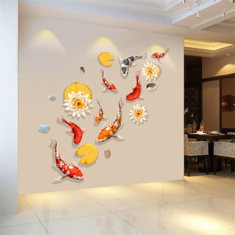鱼3D墙面墙墙壁自粘卧室客厅房间墙纸装饰品玄关a墙面立体贴画贴纸