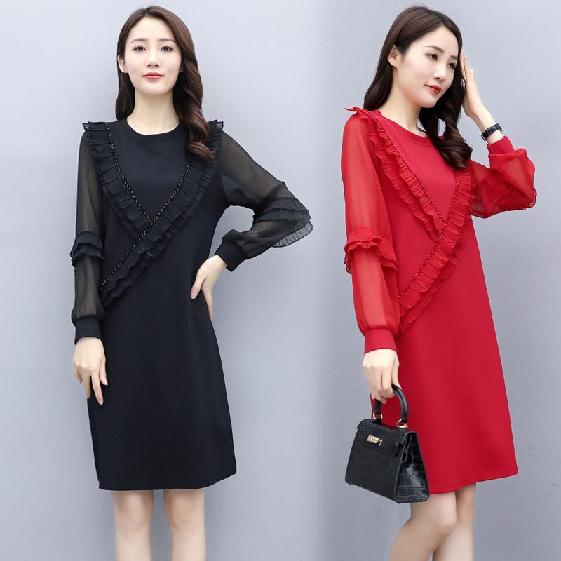 2006 雪纺压皱纯色连衣裙红色黑色宽松腰2020秋季新款大货