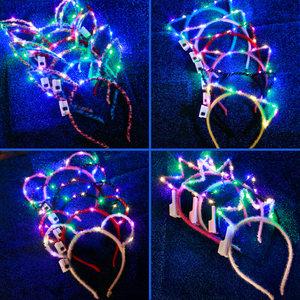 新年兔子耳朵头箍猫耳朵头饰发光发箍演唱会道具带灯荧光发卡玩具