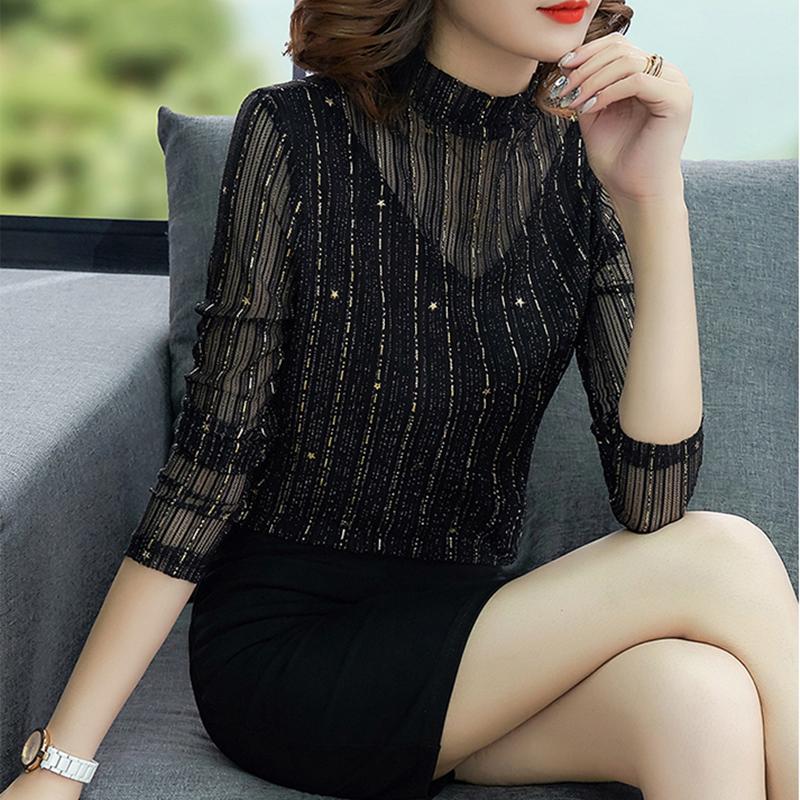 新款春秋蕾丝打底衫女长袖内搭薄款网纱t恤上衣百搭黑色高领小衫