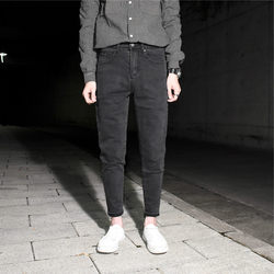 Black gray light board simple slim nine-point jeans men's small feet all-match micro span elastic tapered pants spring new style