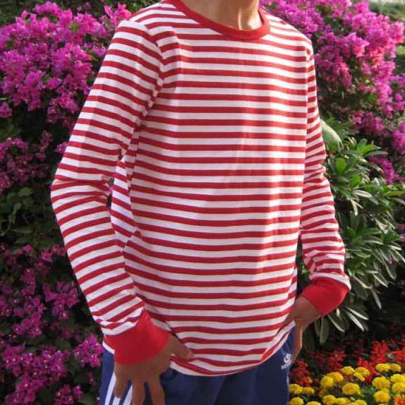 红白长袖打底t衣服码海魂衫恤衫男条纹衫圆领T恤衫上衣海军衫v长袖