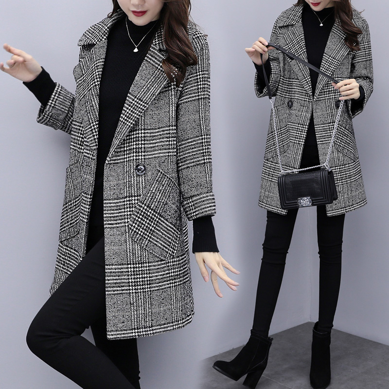2018秋冬新款韩版宽松显瘦千鸟格子呢子大衣中长款流行毛呢外套女