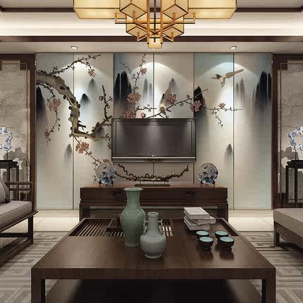 电视机背景墙壁纸 中式客厅影视墙古风花鸟墙纸定制壁画无缝墙布