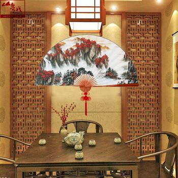 Другие вееры,  Гора больше новый домой чай этаж декоративный Большой веер ретро китайский ветер сюаньчэнская бумага сложить вешать вентилятор высокий 100CM классическая вентилятор, цена 3890 руб