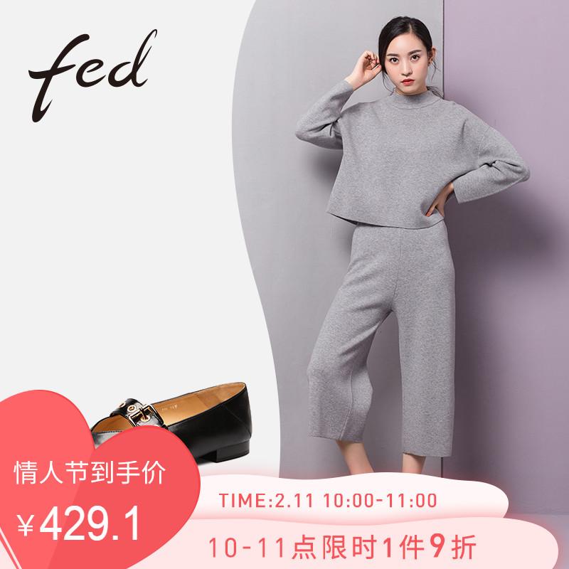 fed鞋子女2018新款欧美尖头金属扣低跟舒适V口单鞋女鞋1881875