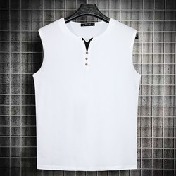 Men Summer V-way Territo Very Size Loose Personality Fashion Color Simple Casual Sleeve Sleeveless Celebrity T-Shirt