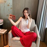 Лето 2019 новая коллекция корейская версия без гильза с бахромой верх Одежда + складки шифон Широкие штаны комплект Самка свисающая двое наборы