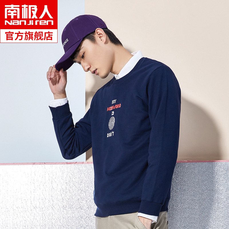Antarctic sweater men's summer Tide brand trend ins loose printing large size cotton thin section autumn coat clothes kl