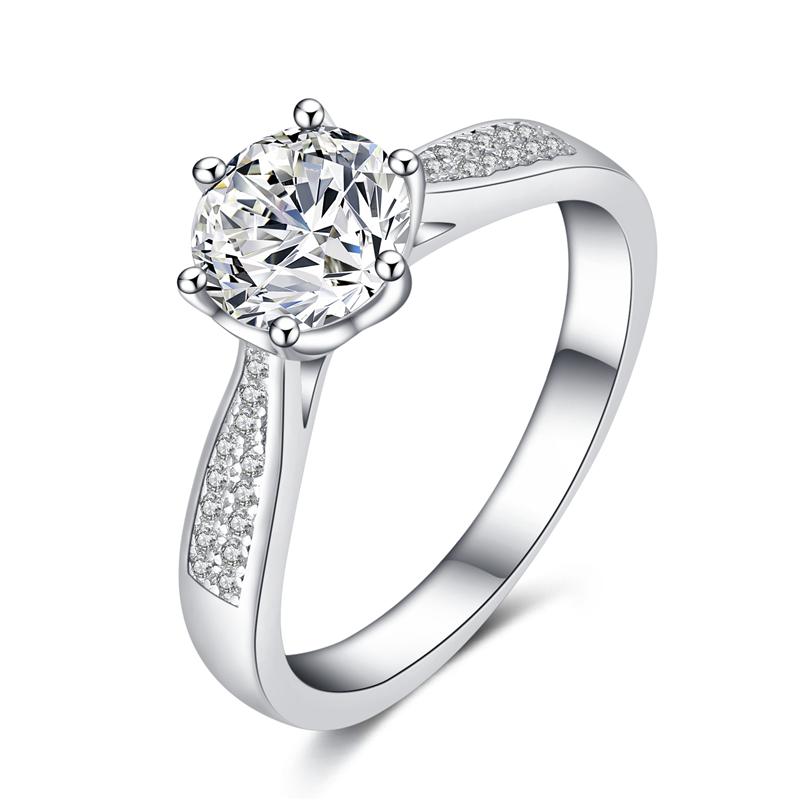 s925纯银钻戒仿真钻石戒指女一克拉六爪结婚求婚锆石简约时尚个性