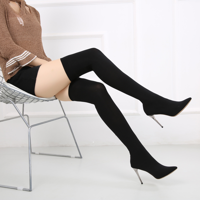2018秋季尖头新款过膝长靴弹力布丝袜女靴高跟细跟靴子时尚女性感